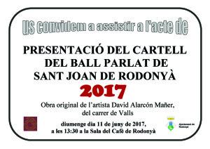 Cartell Presentació cartell Ball de Rodonyà 2017