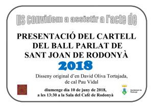 Cartell Presentació cartell Ball de Rodonyà 2018 copia